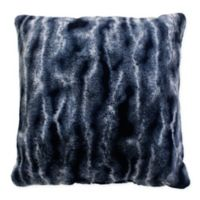 Thro Lithgou Faux Fur Square Throw Pillow in Navy