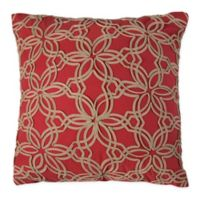 Rizzy Home Indoor/Outdoor Floral Square Throw Pillow in Red/Beige