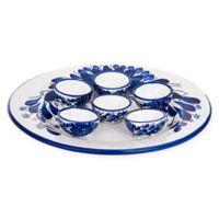 Blue Chrysanthemum Passover Seder Plate