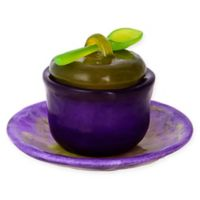 Covered Honey Bowl with Tray and Spoon in Purple/Green