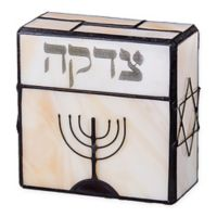 Stained Glass Tzedakah Charity Box in Neutral Ivory with Amber and Metal Accents