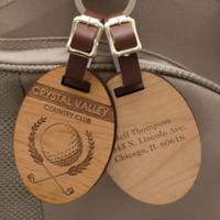 Classic Golfer Personalized Wood Bag Tag