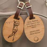 Vintage Golfer Personalized Wood Bag Tag