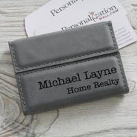 Signature Series Personalized Business Card Case- Charcoal