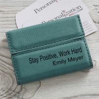 Signature Series Personalized Business Card Case- Teal