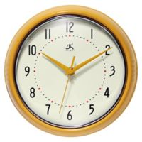 Infinity Instruments Retro 9.5-Inch Wall Clock in Yellow