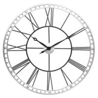 Infinity Instruments The Tower XXL 39-Inch Wall Clock in Silver