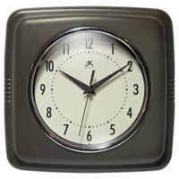 Infinity Instruments 9-Inch Square Retro Wall Clock in Slate