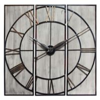 Infinity Instruments 3-Panel 45-Inch Wall Clock in Brass