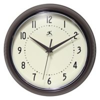 Infinity Instruments 9.5-Inch Round Retro Wall Clock in Slate