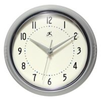 Infinity Instruments 9.5-Inch Round Retro Wall Clock in Grey