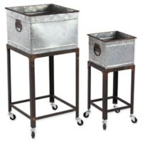 Ridge Road Décor 2-Piece Square Aged Metal Plant Stand Set