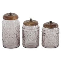 Ridge Road Décor Round Glass Canisters with Lids (Set of 3)