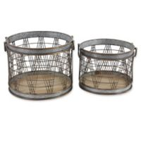 Ridge Road Décor Round Gold/Silver Metal Grid Planters (Set of 2)