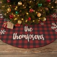 Cozy Cabin Buffalo Check Personalized Christmas Tree Skirt