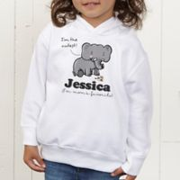 Lovable Elephant Personalized Toddler Hooded Sweatshirt