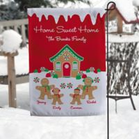 Gingerbread Family Personalized Garden Flag