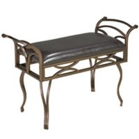 Brassex Inc Faux Leather Upholstered Baltimore Bench in Espresso