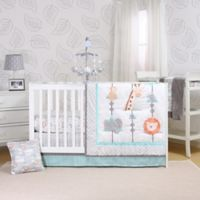 The Peanut Shell™ Safari Adventure 3-Piece Crib Bedding Set in Blue/White
