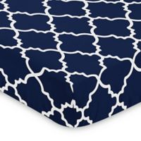 Sweet Jojo Designs Trellis Microfiber Fitted Crib Sheet in Navy
