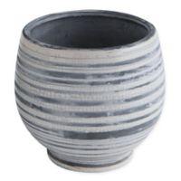 Round Stoneware Planter in Grey/White