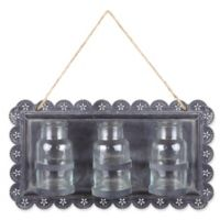 Hanging Vase Metal Wall Decor with Glass Vases in Clear/Grey