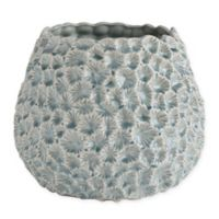 Textured Ceramic Planter in Light Blue