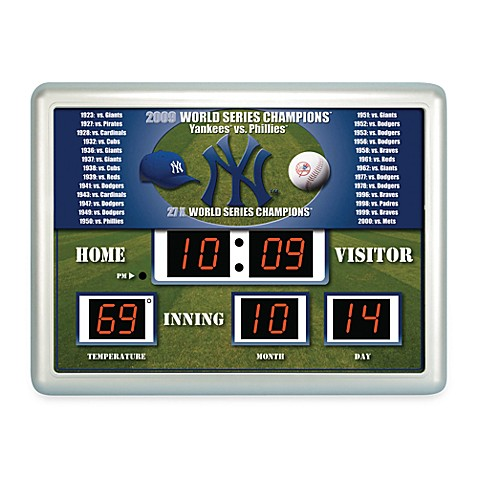 Mlb New York Yankees Indoor Outdoor Scoreboard Wall Clock