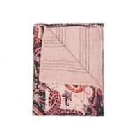 Kantha Cotton Throw in Black and Pink