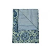 Kantha Cotton Throw in Beige and Green