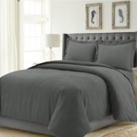 Tribeca Living Madrid Solid King Duvet Cover Set in Steel Grey
