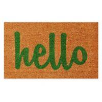 """Calloway Mills Hello Script 17"""" x 29"""" Coir Door Mat in Natural/Green"""