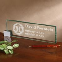 Law Office Personalized Glass Nameplate