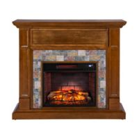 Southern Enterprises Vogelson Faux Stone Infrared Electric Media Fireplace in Dark Sienna