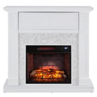 Southern Enterprises Nobleman Media Infrared Fireplace Console in White