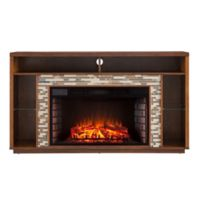 Southern Enterprises Callum TV Stand Infrared Fireplace in Maple