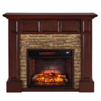 Southern Enterprises Broyleston Faux Brick Infared Electric Media Fireplace in Maple
