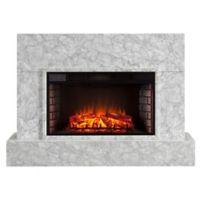 Southern Enterprises Torvele TV Stand Fireplace in Light Grey