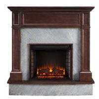 Southern Enterprises Broyleston Faux Stone Infared Electric Media Fireplace in Espresso