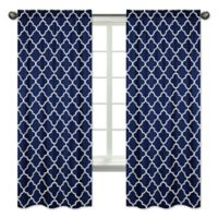 Sweet Jojo Designs Trellis 84-Inch Rod Pocket Window Curtain Panel Pair in Navy