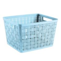 Plastic Large Wicker Basket in Teal