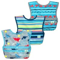 green sprouts® 3-Pack Snap & Go® Easy-Wear Bib Set in Aqua Dinosaur