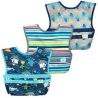 green sprouts® 3-Pack Snap & Go® Easy-Wear Bib Set in Aqua Pirate