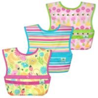 green sprouts® 3-Pack Snap & Go® Easy-Wear Bib Set in Pink Bee Floral