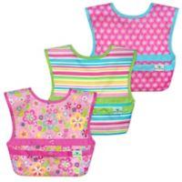 green sprouts® 3-Pack Snap & Go® Easy-Wear Bib Set in Pink Flower Field