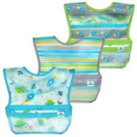 green sprouts® by i play.® 3-Pack Snap & Go Roll-Up Bibs in Aqua Space