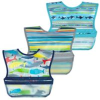 green sprouts® by i play.® 3-Pack Snap & Go Roll-Up Bibs in Blue Whales