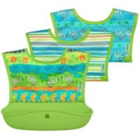 green sprouts® 3-Pack Snap & Go Silicone Food Catcher Bibs in Green Safari