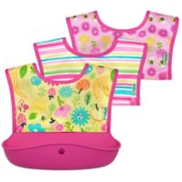 green sprouts® 3-Pack Snap & Go Silicone Food Catcher Bibs in Pink Bee