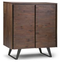Simpli Home Lowry Medium Storage Cabinet in Distressed Charcoal/Brown